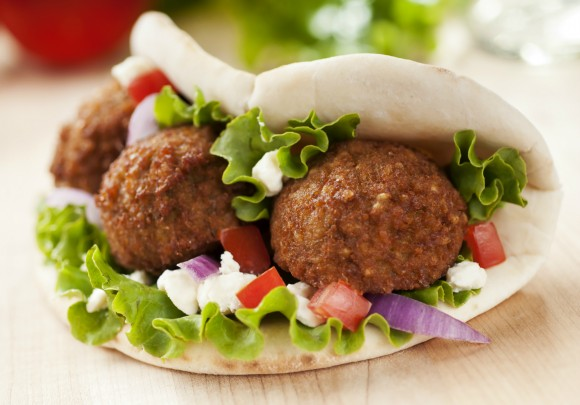Falafel, a Middle Eastern dish of spiced mashed chickpeas, is formed into balls or patties, deep-fried and sometimes eaten in a pita. Credit: Copyright 2012 iStock/mphillips007