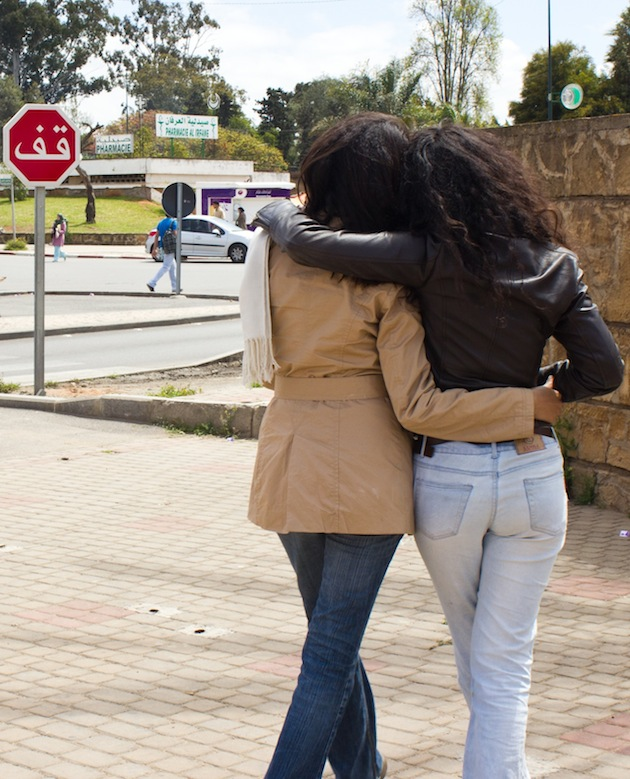 In Morocco, coming out is a choice that could destroy lives. Typical social behavior for women includes close physical contact, as pictured above, but gay women often must leave to start again elsewhere or stay and live in silence. | Photo by Marie von Hafften
