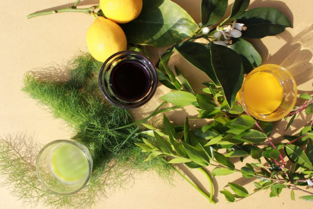 Cream of fennel, myrtle berry and saffron-lemon liqueurs, with lemon leaves and flowers, sprigs of wild fennel and myrtle leaves.