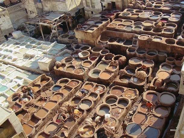 Exposure to toxic chemicals is nothing new when it comes to being a tannery leather worker. It is a job that is highly labor intensive and only pays between $2-5 USD a day based on skill level and production output. This is Chouara Tannery, a traditional tannery located inside the medina of Fez, Morocco. Photo by Julian Harris